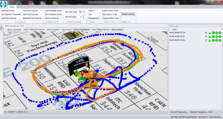 Pantalla de aplicación que utiliza RTLS para localizar activos