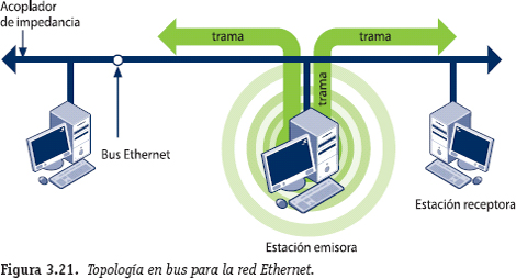 Topología en bus. Red Ethernet
