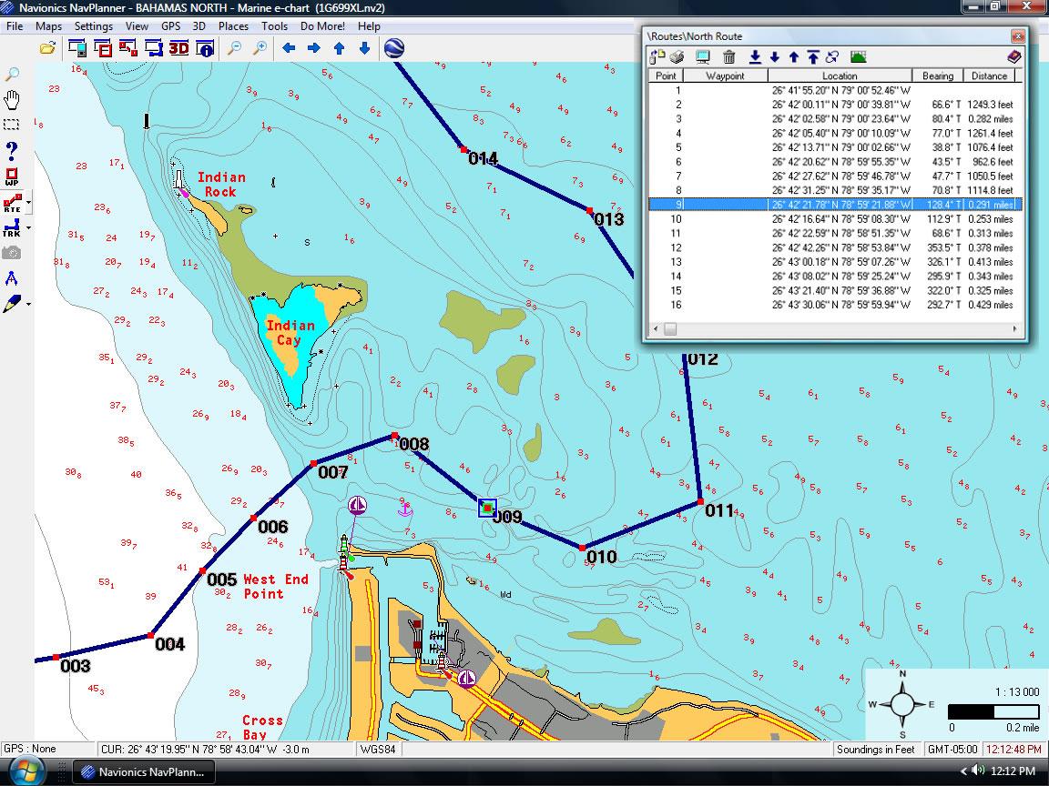 """Pantalla de un sistema de navegación marítima. Los puntos rojos numerodos son """"waypoints"""""""